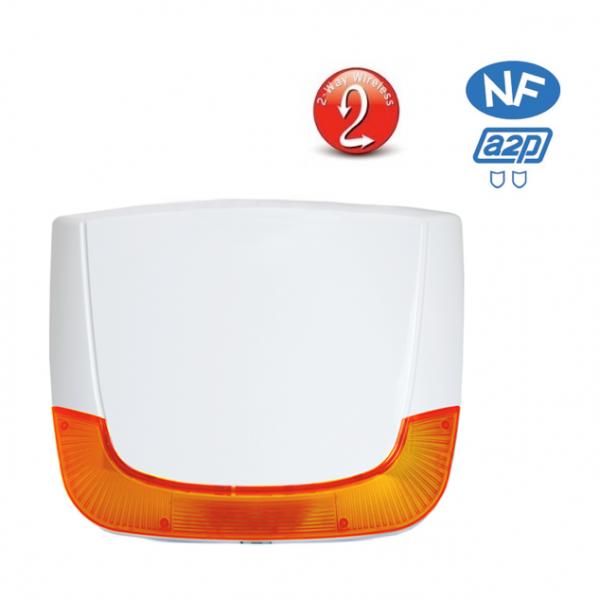 Sirene exterieure sans fil avec flash bidirectionnelle NFA2P Risco RWS401 LuMIN8