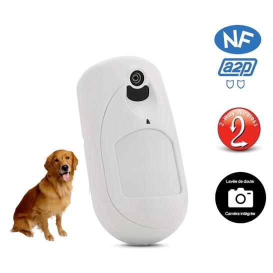 Detecteur de mouvement avec camera sans fil bidirectionnel EyeWAVE PIR PET levee de doute Risco RWX95CMP